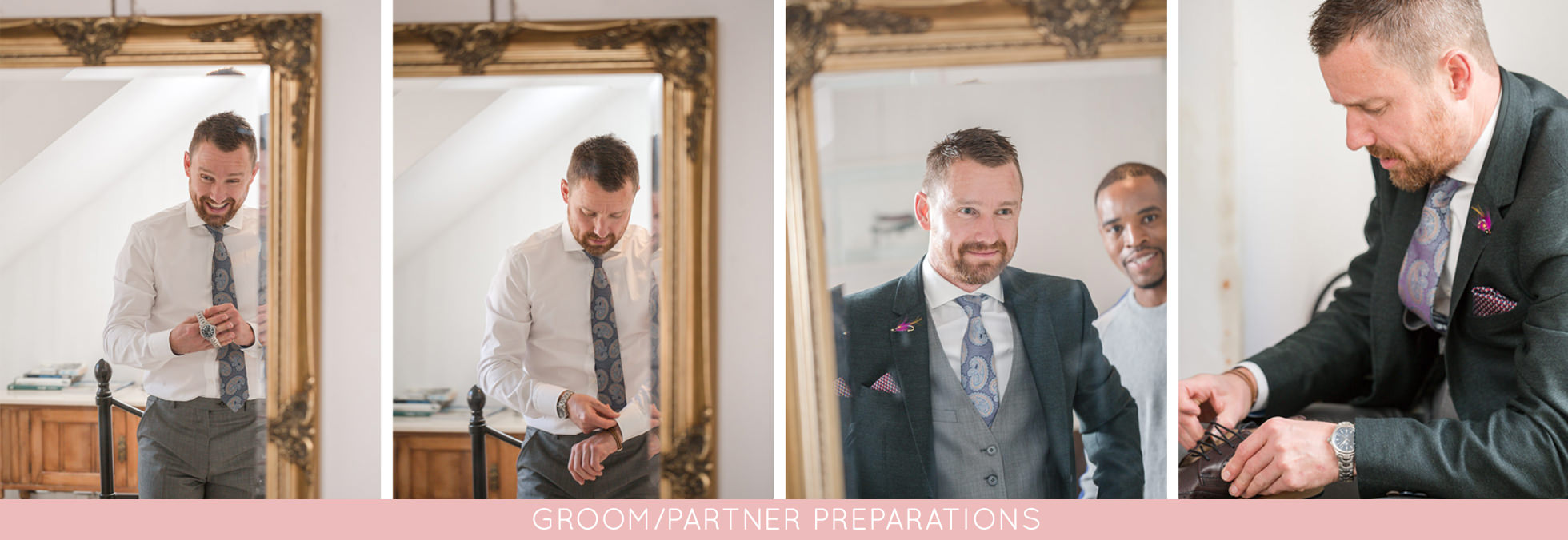 photographs of the groom getting ready at a wedding