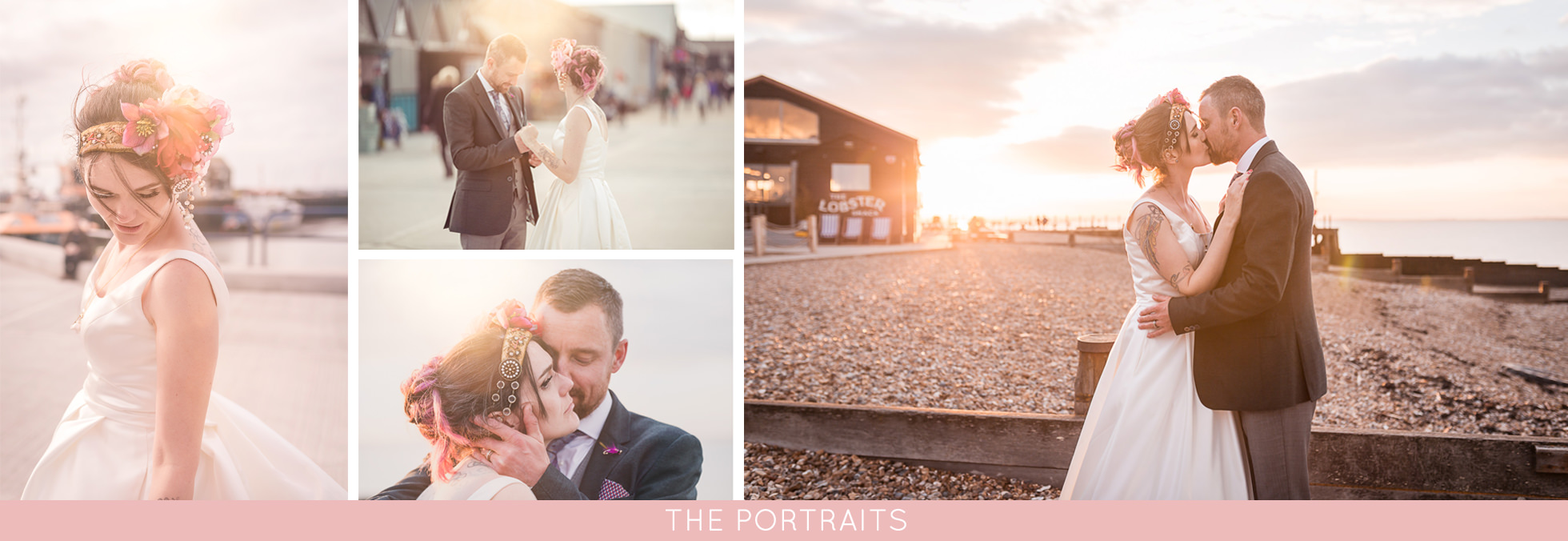 couple shots at beach wedding in Kent