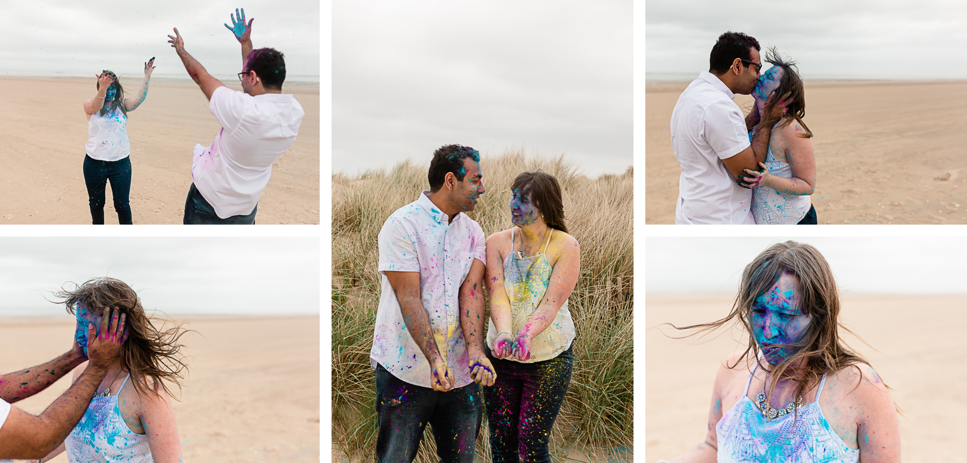 holi engagement photos